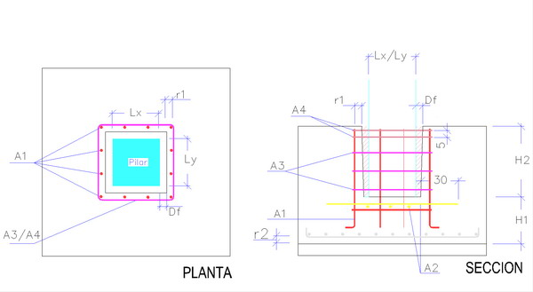 cálice esquema de pré-moldados de concreto armado